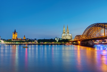 The river Rhine with the famous skyline of Cologne at dawn