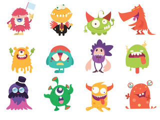 Cartoon Monsters collection. Vector set of cartoon monsters . Design for print, party decoration Fotobehang
