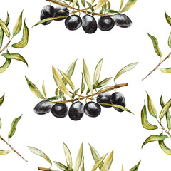 Seamless pattern. Black olives on branches with leaves. Hand drawn watercolor illustration isolated on a white background.