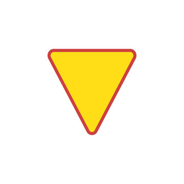Yield Triangle Sign flat icon, vector sign, colorful pictogram isolated on white. Road traffic coordination symbol, logo illustration. Flat style design