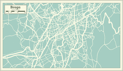 Braga Portugal City Map in Retro Style.