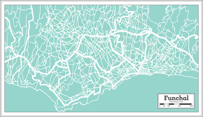 Funchal Portugal City Map in Retro Style.