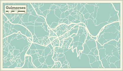 Guimaraes Portugal City Map in Retro Style.