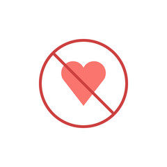 No love heart flat icon, vector sign, colorful pictogram isolated on white. prohibition sign symbol, logo illustration. Flat style design