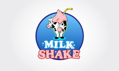 Logo template for milkshake. Vector cartoon illustration isolated on a white background.