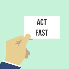 Man showing paper ACT FAST text