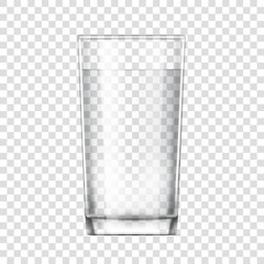 realistic glass cup. Transparent glassware