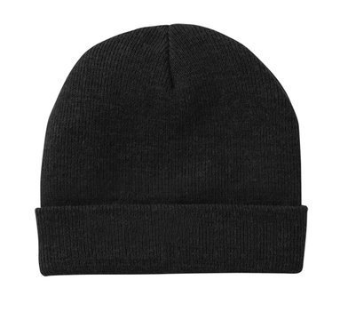 Blank beanie in black color isolated on white background