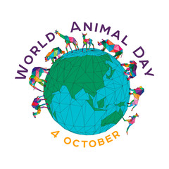 Vector illustration for the World Animal Day on October 4. Polygonal animals on the globe. An elephant, a rhinoceros, a camel, a giraffe, a kangaroo, a roe deer, a gorilla, a bear.