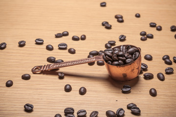 coffee bronze spoon, coffee equipment concept