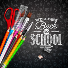 Back to school design with colorful pencil, typography lettering and other School items on black chalkboard background. Vector School illustration with hand drawn doodles for greeting card, banner
