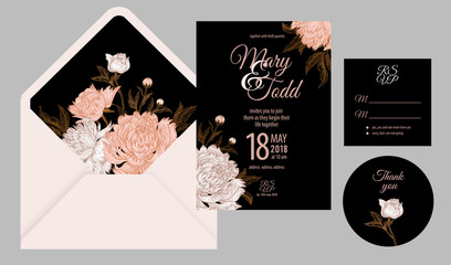 Wedding invitations templates cards and cover with flowers peonies.
