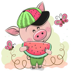 Cute Cartoon Pig with watermelon