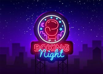 Boxing neon sign vector. Boxing Night Design template neon sign, Fight light banner, neon signboard, modern trend design, nightly bright advertising, light inscription. Vector illustration. Billboard