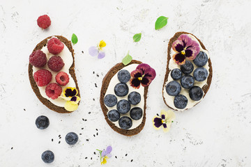 Light summer snack toasts with ricotta, honey, blueberries, raspberries and edible flowers of garden violets on dark-colored whole wheat bread on a light background. Top View.