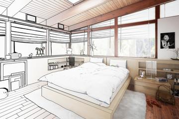 Verandaausbau zum Schlafzimmer (Skizze)