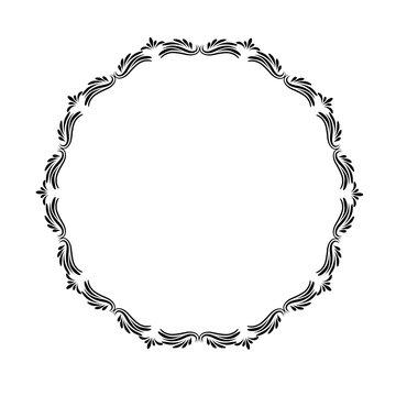 black vintage floral frame on white, stock vector illustration