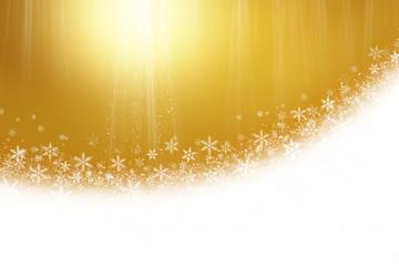雪の結晶と金色の背景