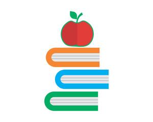 apple book textbook dictionary encyclopedia read image vector icon logo