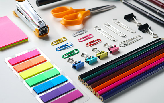 Neat School Stationary on White Background