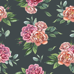 Seamless pattern of roses and green leaves for wedding and greeting cards on dark background in shabby chic style