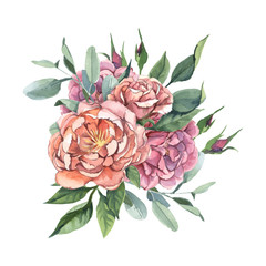 A bouquet of roses and green leaves for wedding and greeting cards isolate on white background