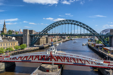 The Swing Bridge across the Tyne River between Newcastle and Gateshead in the north east of England