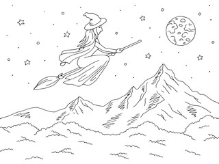 Witch flying on a broomstick. Mountain graphic black white landscape sketch illustration vector