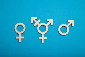 Transgender symbol, activism and rights. Civil trans, bisexual concept.