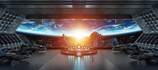 Wall Mural - Landing strip spaceship interior 3D rendering elements of this image furnished by NASA