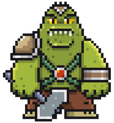 Vector illustration of Cartoon Green Monster - Pixel design