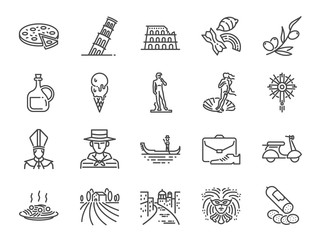 Italy icon set. Included icons as Venice, Gondola, Pizza, Olive oil, Salami, Italian food and more. Fotomurales