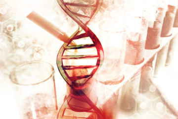 DNA Molecules on scientific background