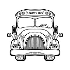 Vector yellow school bus. Coloring book