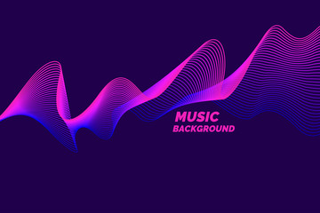 Bright music poster with dynamic waves. Vector illustration