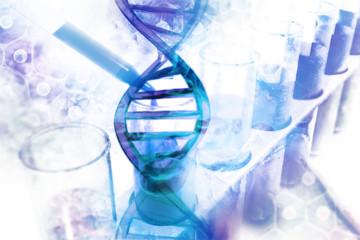 DNA Molecules on scientific background