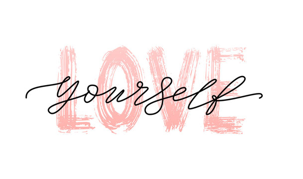 Love yourself quote. Single word. Self care. Modern calligraphy text print take care of yourself. Vector illustration black and white. ego