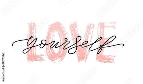 Love yourself quote  Single word  Self care  Modern