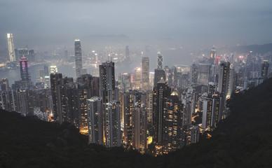 Dark night view of Hong Kong city from Victoria peak