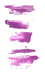 Purple grunge brush strokes, oil paint set isolated on white background