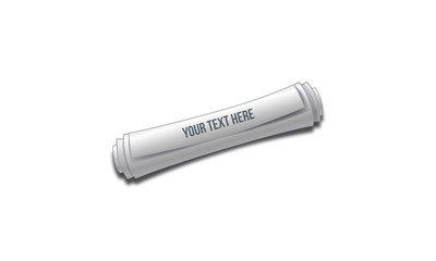 Journal en rouleau de papier vectoriel avec titre (ou pas) personnalisable sur fond blanc