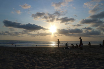 Sunset on the beach, Legian Bali, Indonesia.