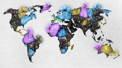 Сoncept of global pollution. A paper map of the world with trash bags on the continents.
