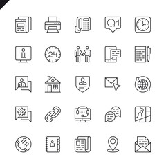 Thin line contact us icons set for website and mobile site and apps. Outline icons design. 48x48 Pixel Perfect. Linear pictogram pack. Vector illustration.