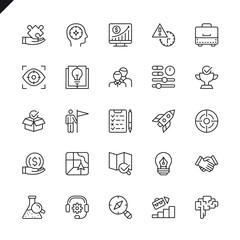Thin line startup project and development elements icons set for website and mobile site and apps. Outline icons design. 48x48 Pixel Perfect. Linear pictogram pack. Vector illustration.