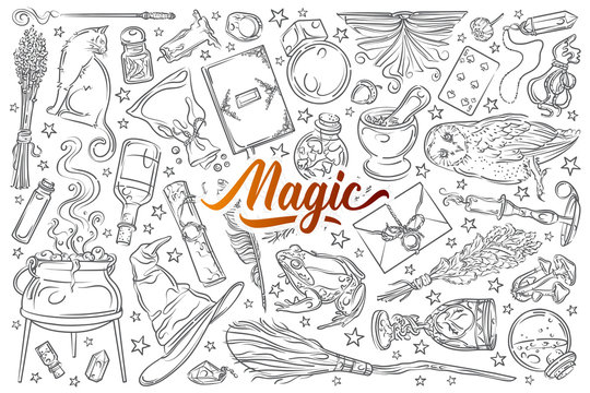 Hand drawn magic tools.