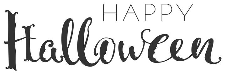 Happy halloween handwriting ornate text greeting card