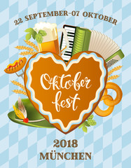 Poster for oktoberfest festival. Beer set with tap, glass, hop branch with leaf, barrel. Vintage vector color engraving illustration isolated on blue background