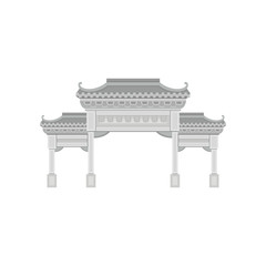 Stone gate at Po Lin monastery. Famous tourist landmark of Hong Kong. Asian culture and architecture theme. Flat vector icon