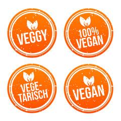 Wall Mural - Yellow vegan Badge Set. German-Translation: Vegan Button und Vegetarisch Banner Set.